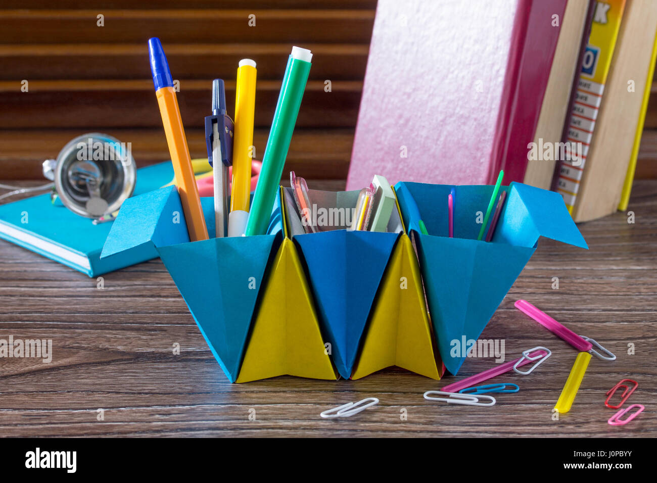 A Childrens Office Organizer Made Of Paper Is Filled With Office - Childrens desk accessories