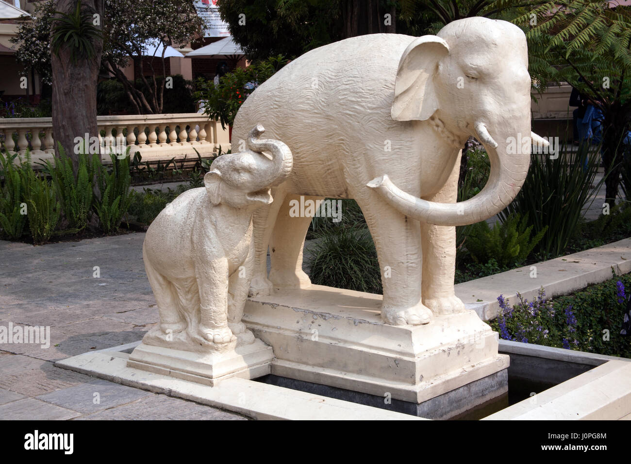 Mother And Baby Elephant Statue In The Garden Of Dreams, Kaiser Mahal,  Thamel, Kathmandu, Nepal