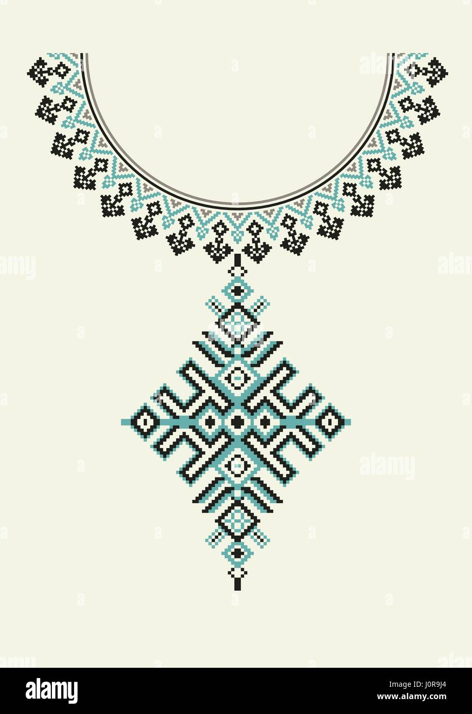 African american stock vector images alamy vector aztec necklace embroidery for fashion women pixel tribal pattern for print or web design buycottarizona Images