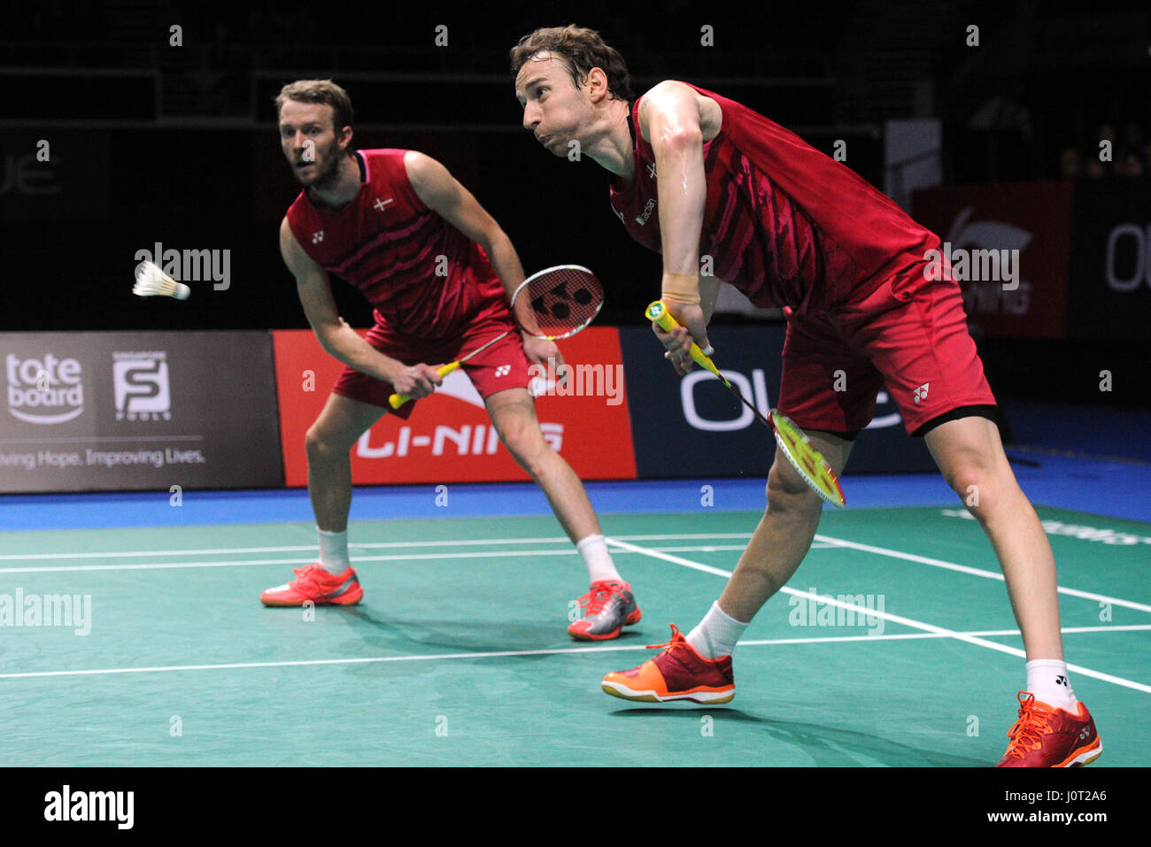 Singapore 16th Apr 2017 Denmark s Mathias Boe and Carsten
