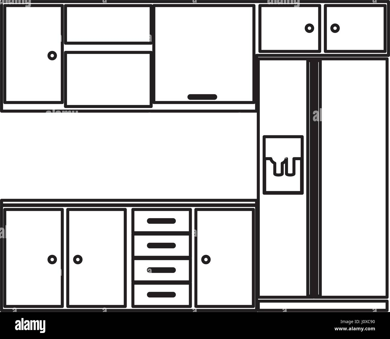 Kitchen Furniture Silhouette: Sketch Silhouette Kitchen Interior With Cabinets And