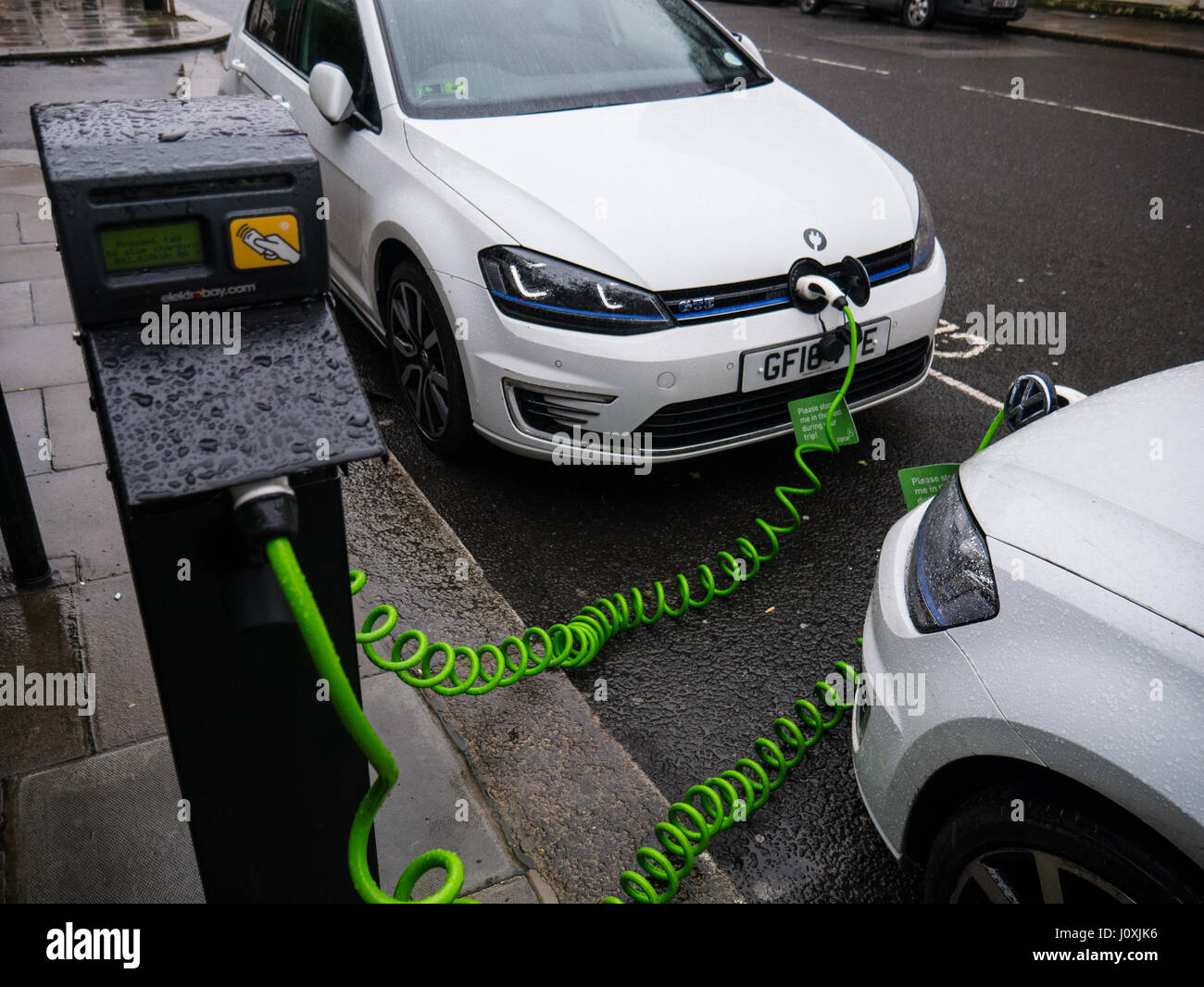 Electric Cars Charging Paddington Central London England Stock
