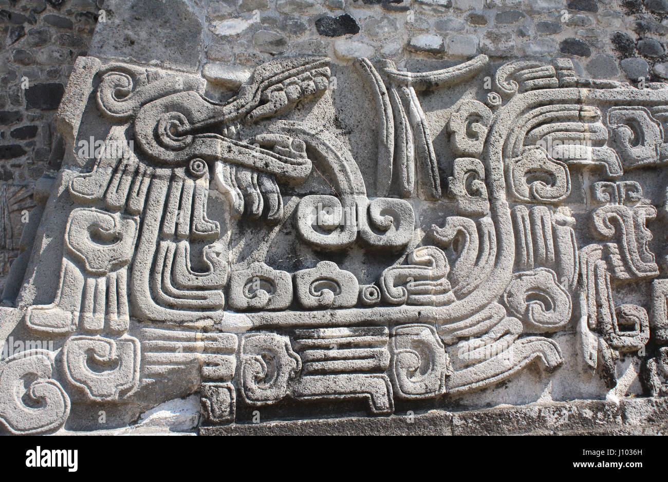 Bas relief carving with of a quetzalcoatl pre columbian