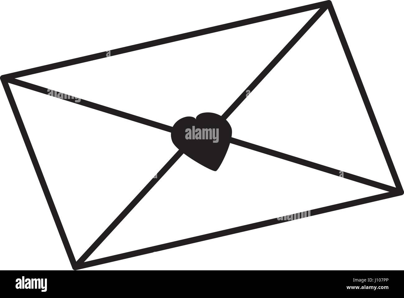 message envelope heart letter outline Stock Vector Art ...