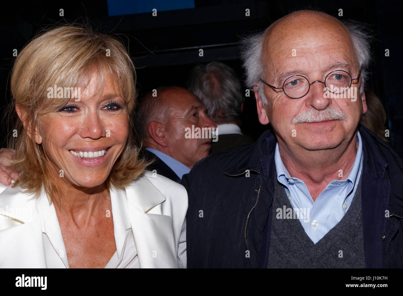 France elections 2017 live - Brigitte Macron And Erik Orsenna Attend Last Big Meeting Of Emmanuel Macron In Paris Bercy Before The First Round Of The French Presidential Election