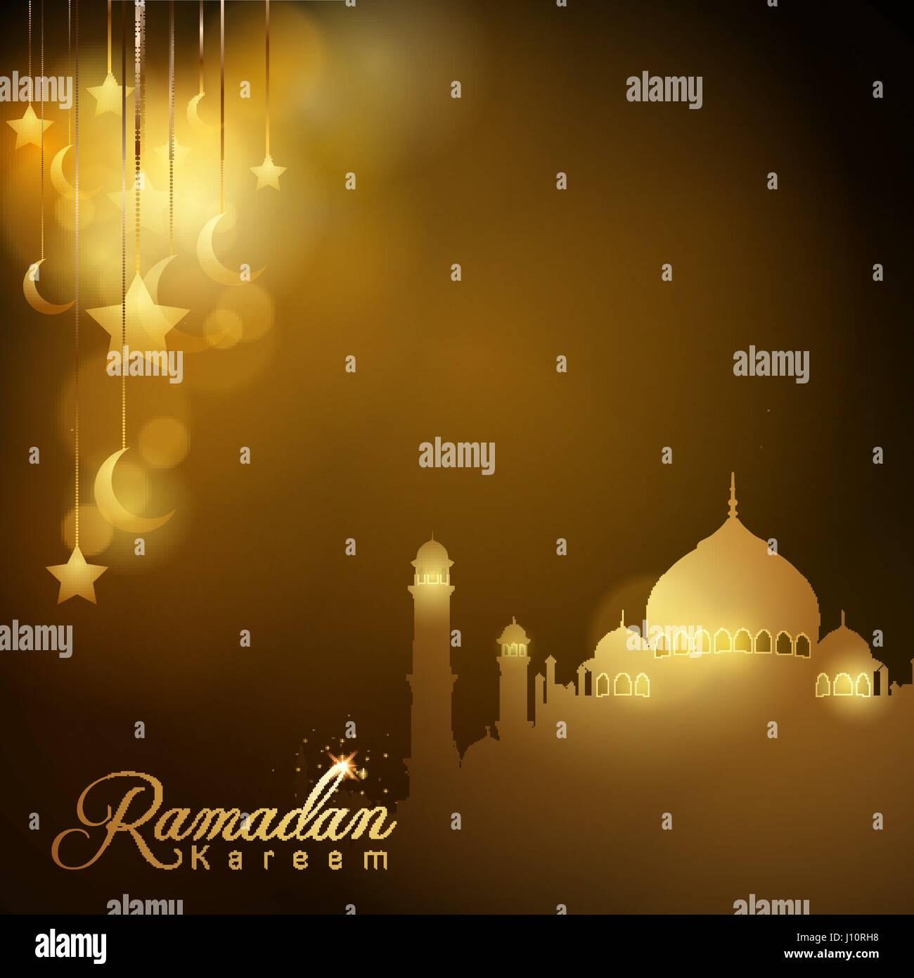 Mosque background for ramadan kareem stock photography image - Ramadan Kareem Islamic Design Background Glow Silhouette Mosque Star And Crescent