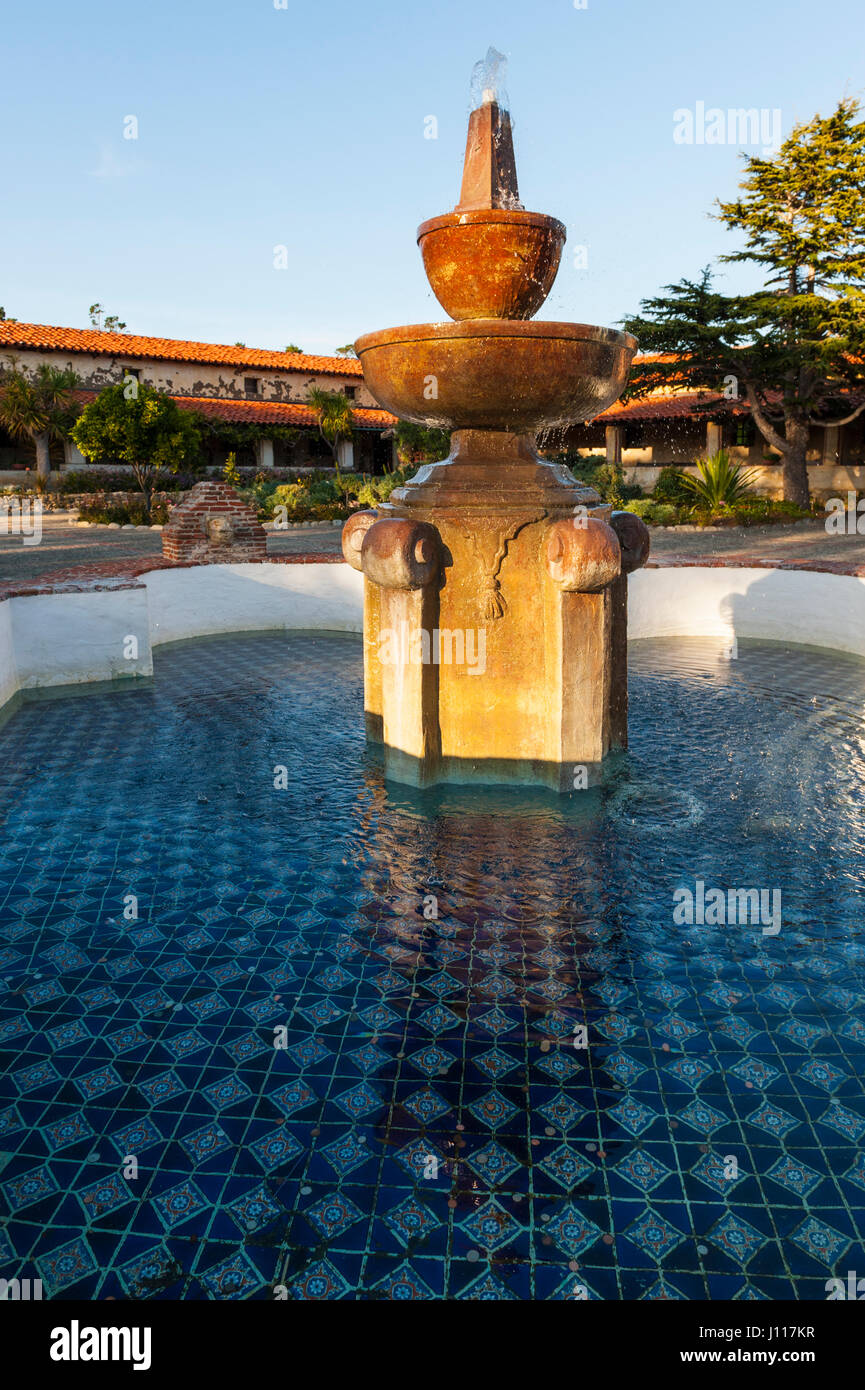 Carmel By The Sea Mission, Outside View Of Patio And Fountain, Mission San  Carlos