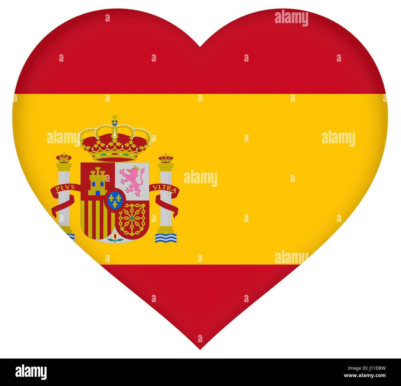 illustration of the national flag of spain with a heart shape