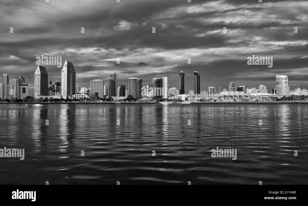 san diego skyline black and white art