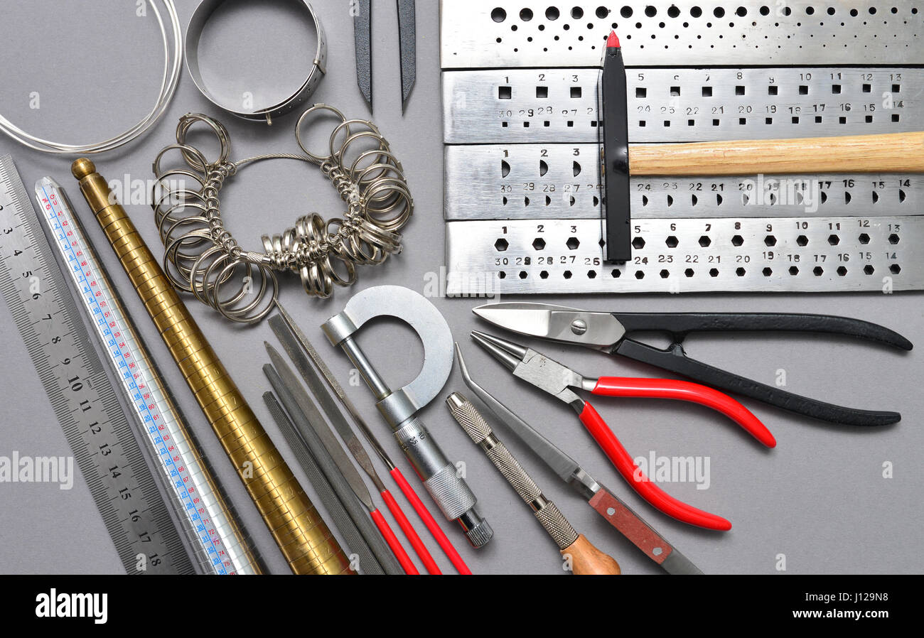 Home made jewelry tools and workplace background texture Stock ...