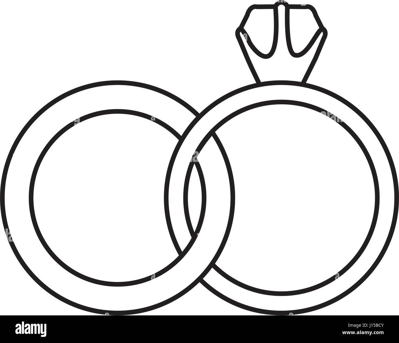 black silhouette of wedding rings Stock Vector Art Illustration