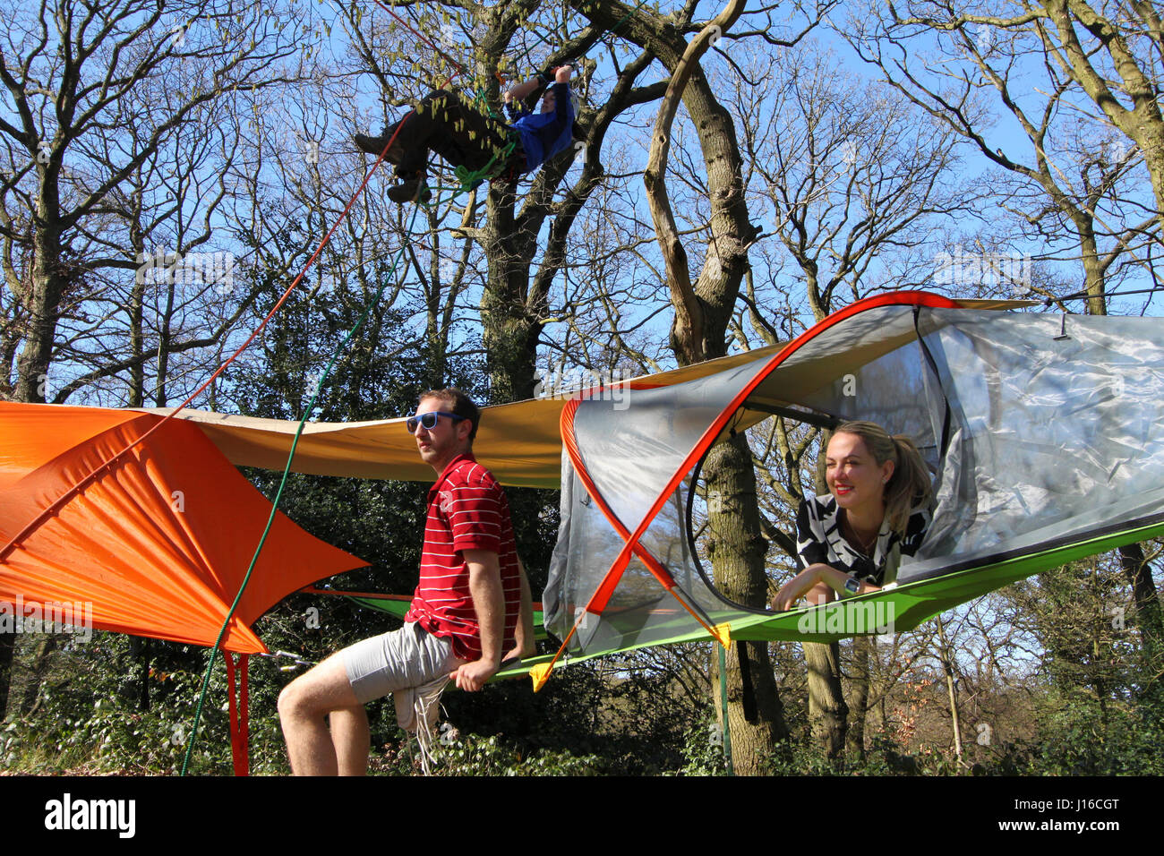ENGLAND Friends relax on the Tensile portable treehouse. WELCOME to the tent in the : portable treehouse tent - memphite.com