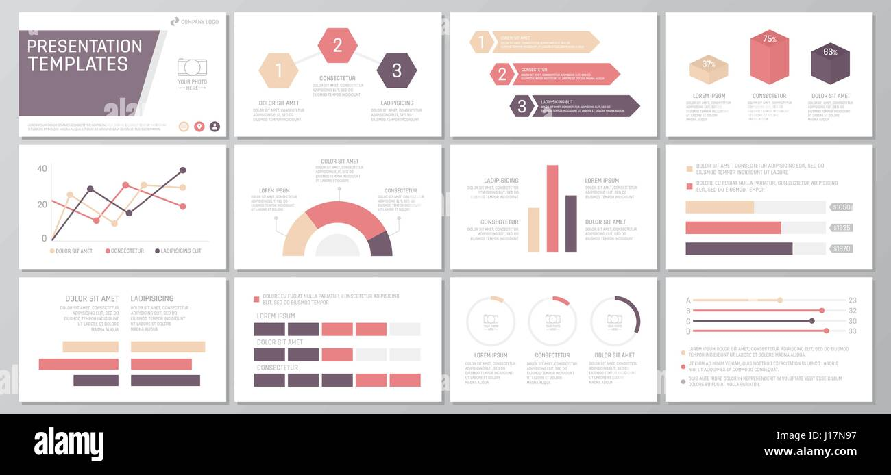 Set of red and purple elements for multipurpose presentation ...