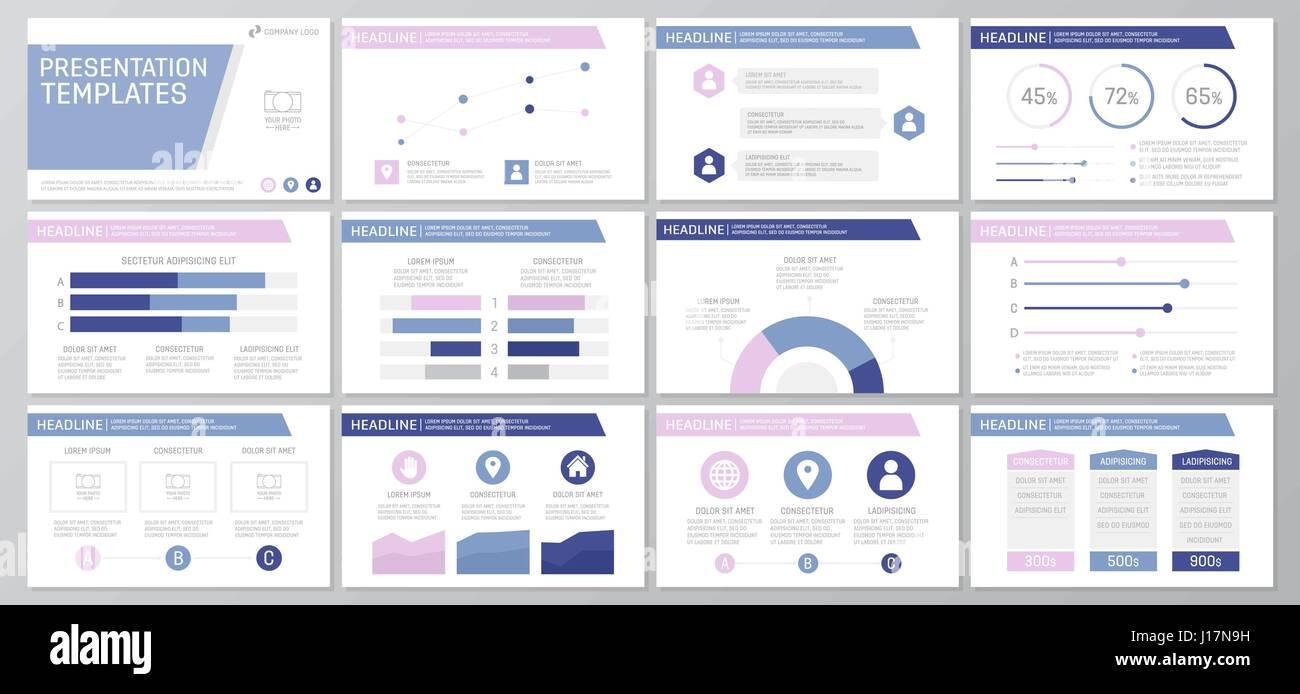 Set purple elements for multipurpose presentation template slides ...