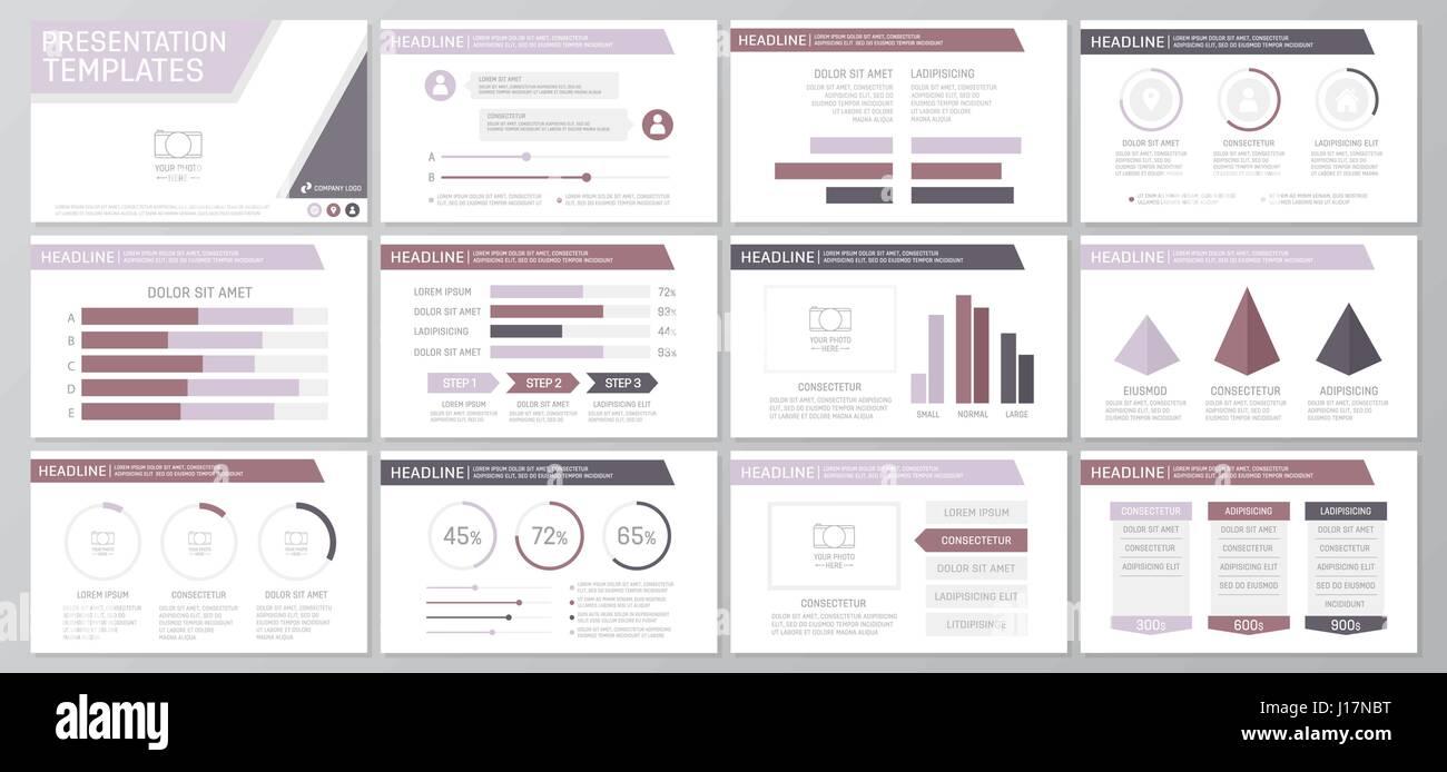 Set of purple elements for multipurpose presentation template ...