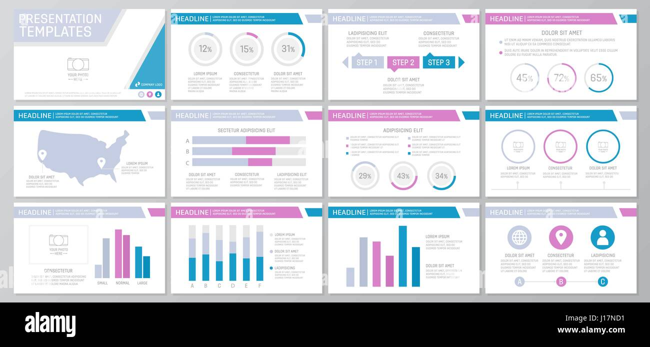 Set of colored elements for multipurpose presentation template ...