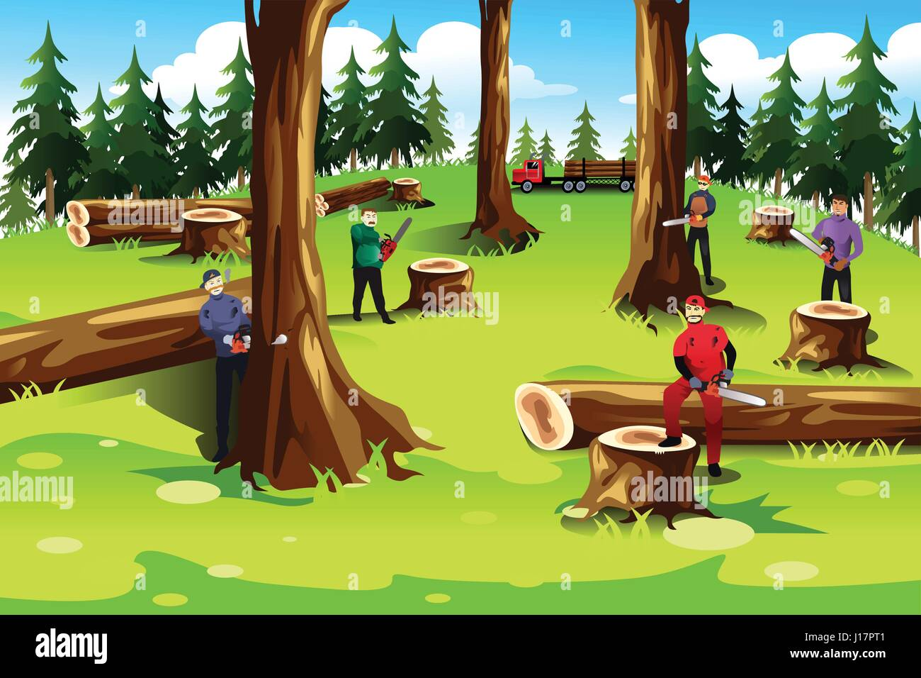 a vector illustration of people cutting down and exploiting trees