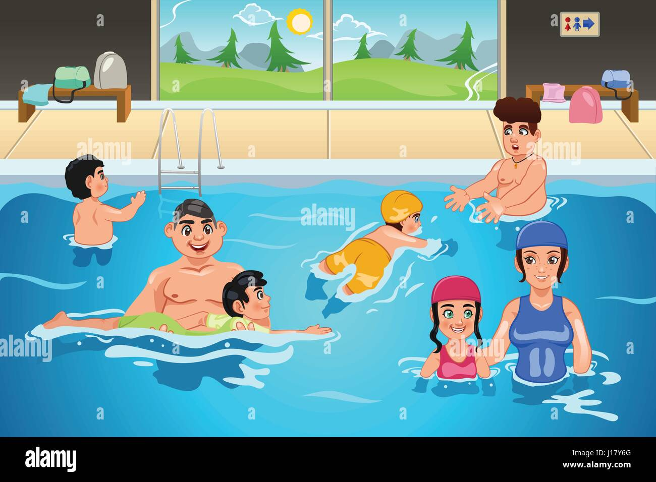 A vector illustration of kids having a swimming lesson in indoor pool stock vector art for Swimming pool lessons for kids