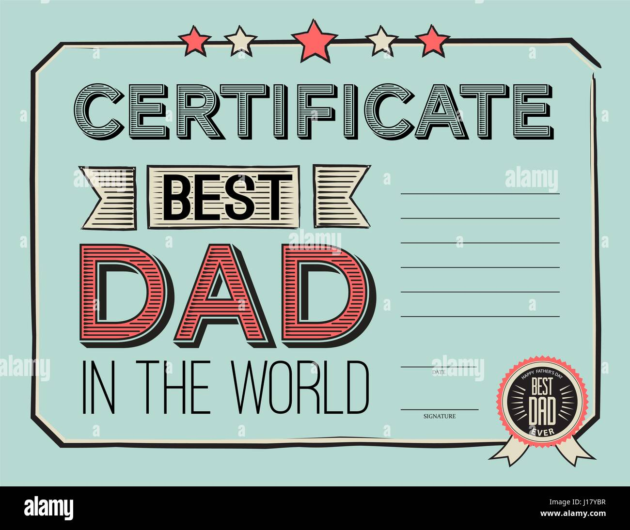Template certificate congratulations for fathers day in vintage stock vector template certificate congratulations for fathers day in vintage retro style vector illustration worlds best dad certificate template yadclub Images