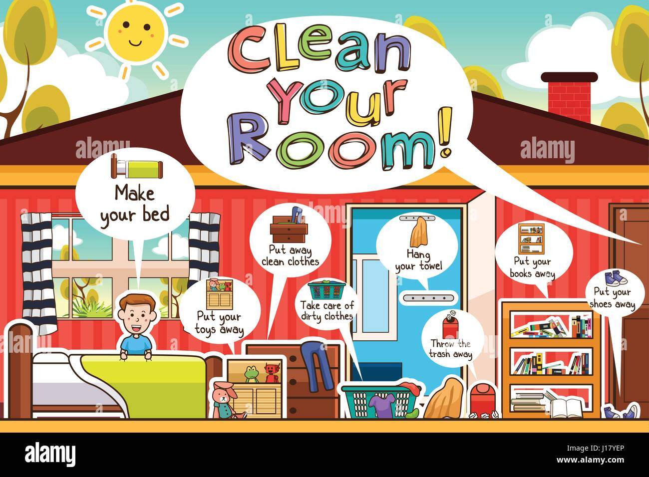A vector illustration of Kids Cleaning Room Chores ...