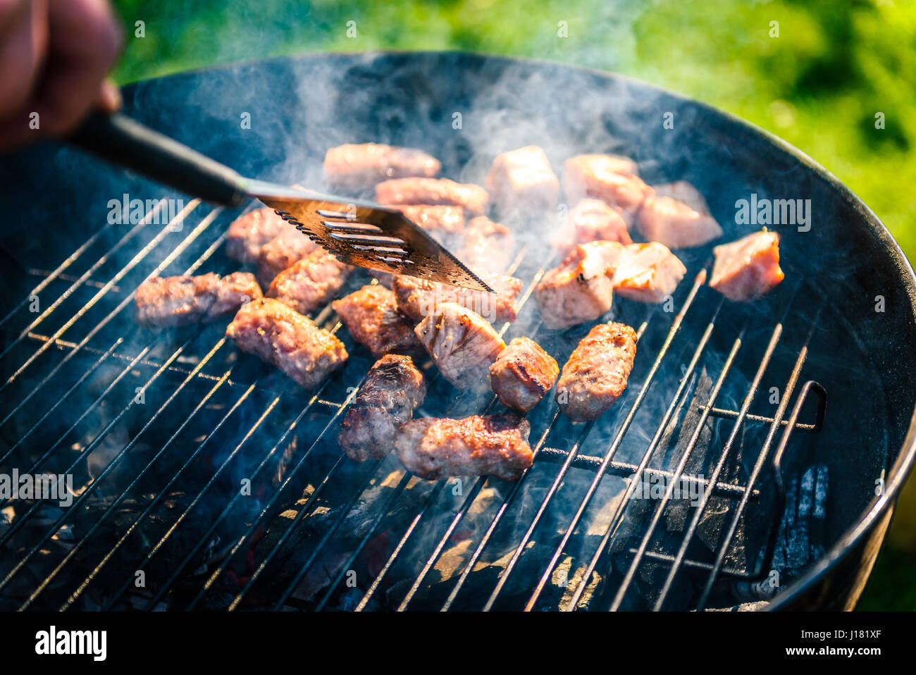 grilling delicious variety of meat on barbecue charcoal grill