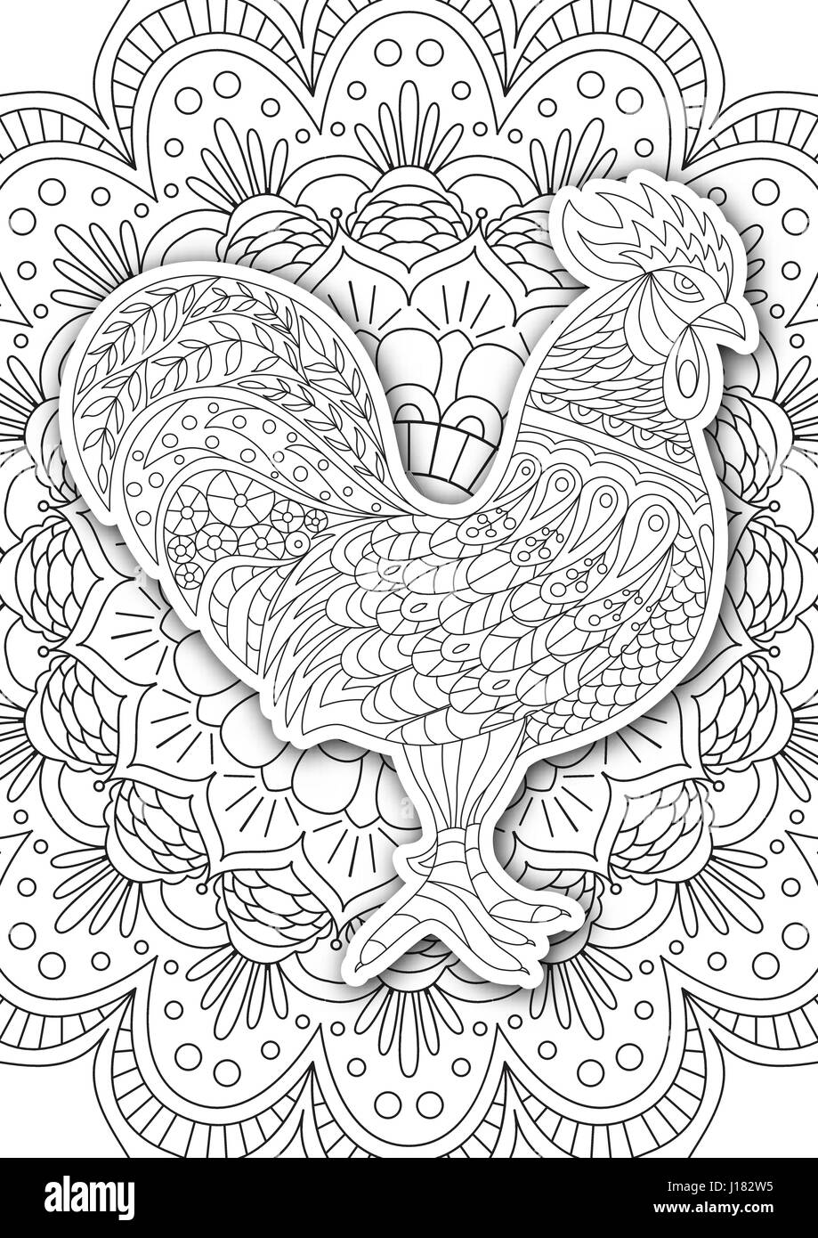 Printable coloring book page for adults rooster design activity printable coloring book page for adults rooster design activity to older children and relax adult vector with the symbol of the new year 2017 outline biocorpaavc Gallery