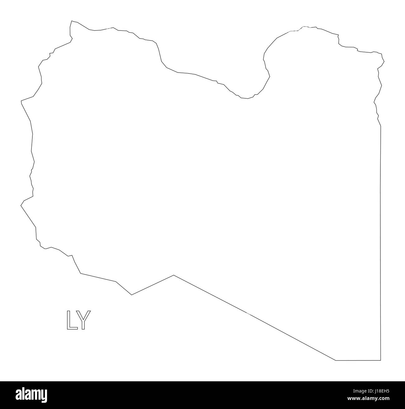 Libya Outline Silhouette Map Illustration Stock Vector Art - Libya blank map
