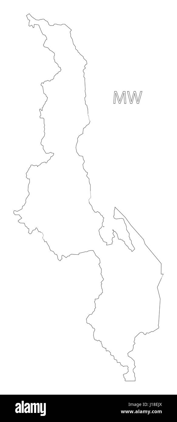 Malawi Outline Silhouette Map Illustration Stock Vector Art - Malawi blank map