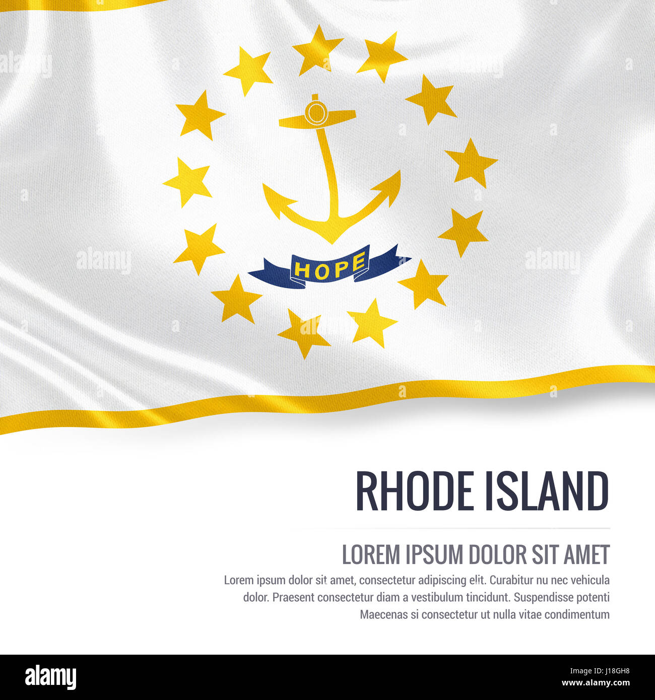 Flag of us state rhode island waving on an isolated white stock flag of us state rhode island waving on an isolated white background state name and the text area for your message biocorpaavc Choice Image