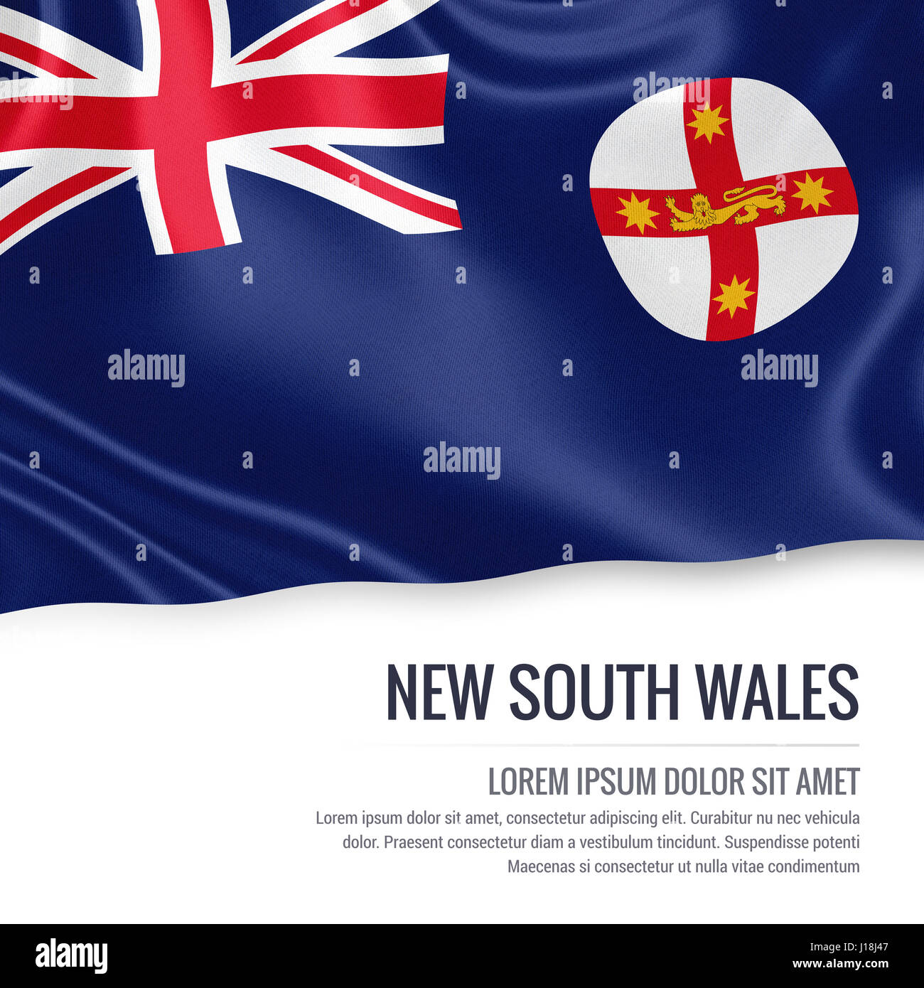 Australian state flag stock photos australian state flag stock flag of australian state new south wales waving on an isolated white background state name biocorpaavc Choice Image