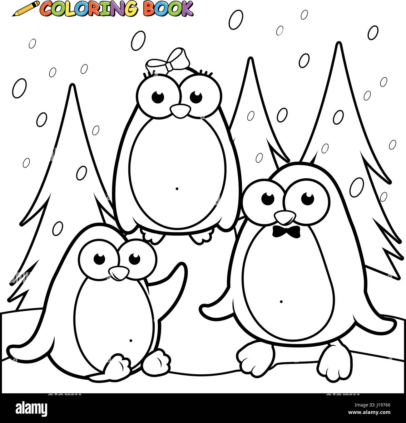 snowy landscape with penguins on ice black and white coloring