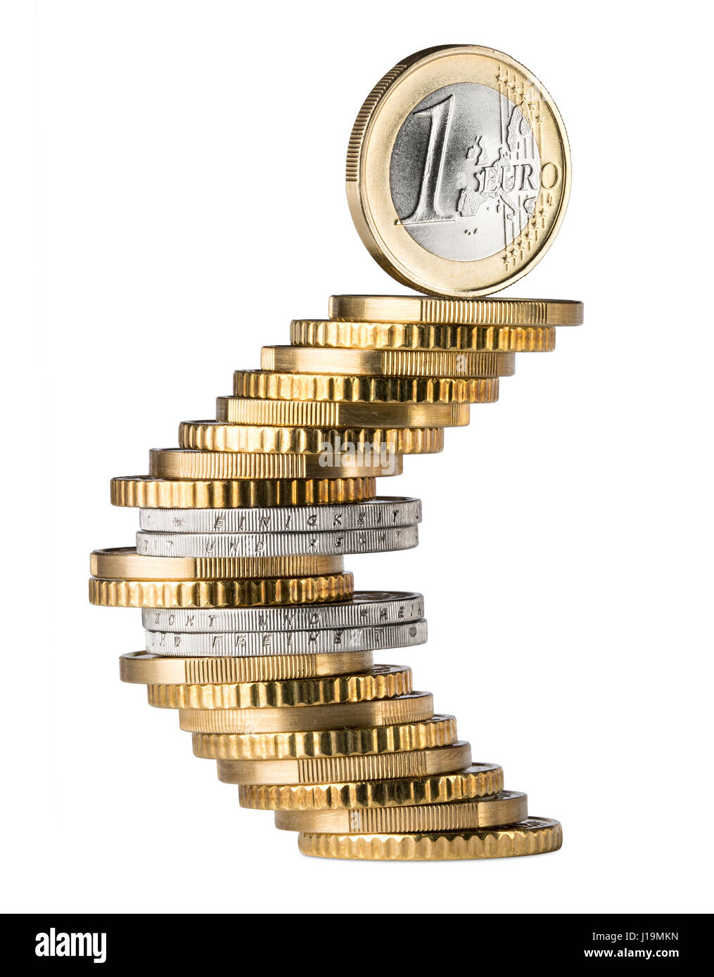 One euro coin standing on top of coin stack shaping the euro one euro coin standing on top of coin stack shaping the euro currency symbol isolated on white background biocorpaavc Images