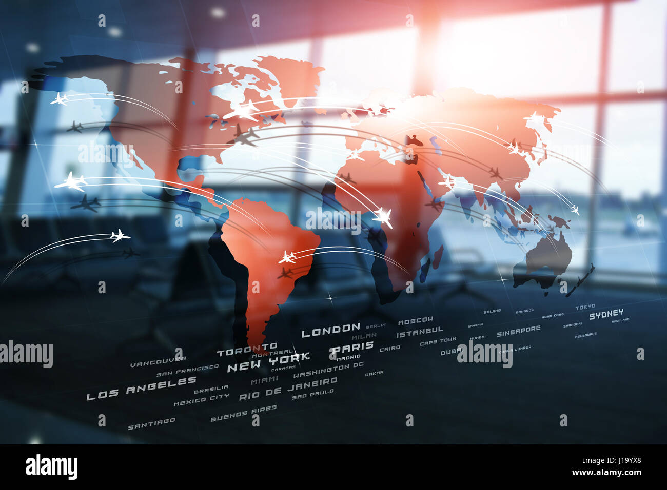 Business aviation background with planes on world map on blurred business aviation background with planes on world map on blurred airport terminal gumiabroncs Choice Image