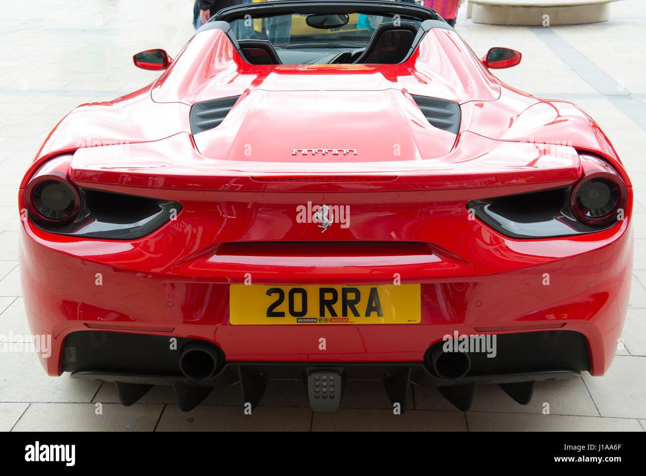 Rear View Of Ferrari Spider Luxury Supercar Stock Photo
