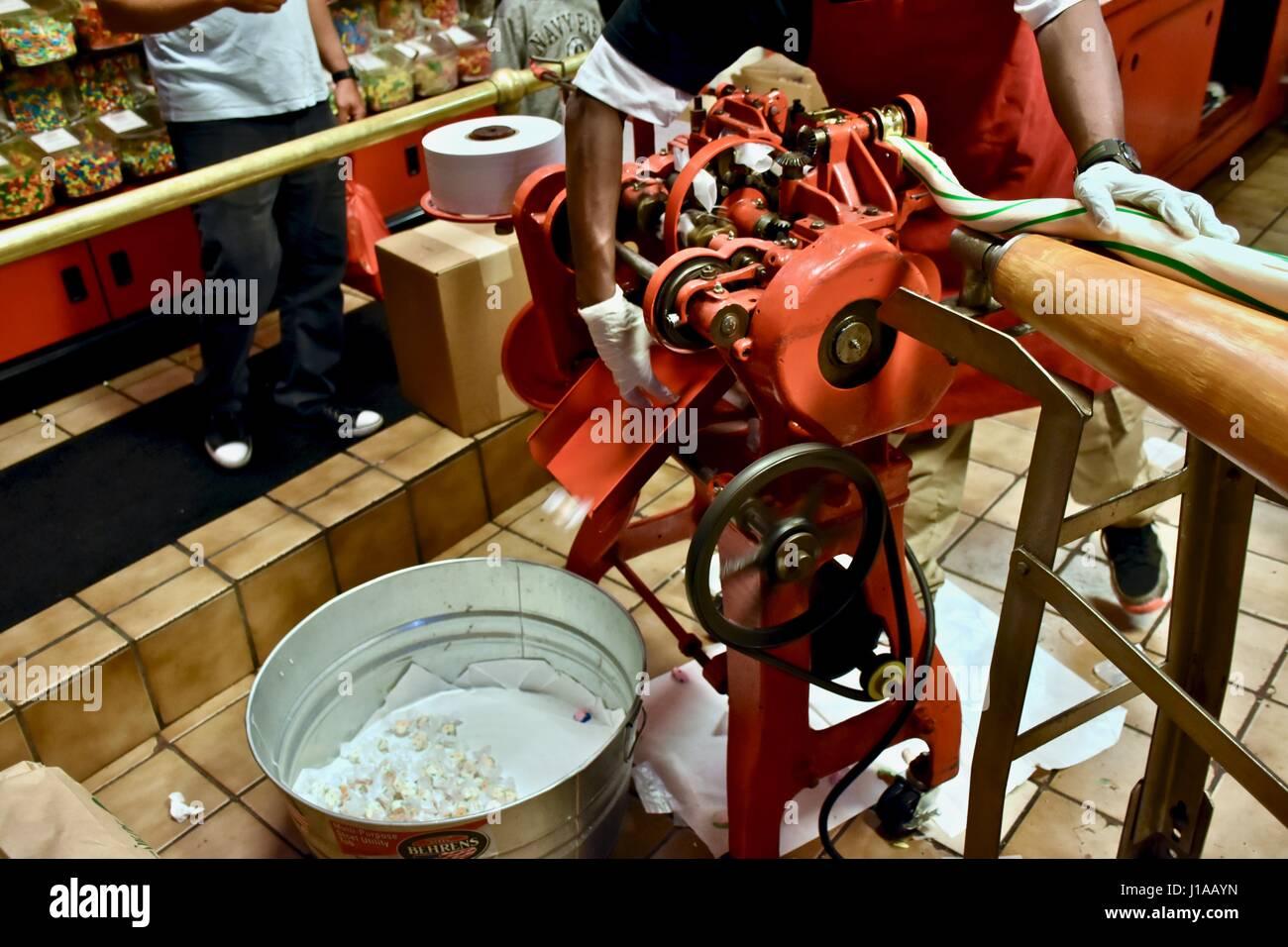 Making salt water taffy at the Savannah Candy Kitchen Stock Photo ...