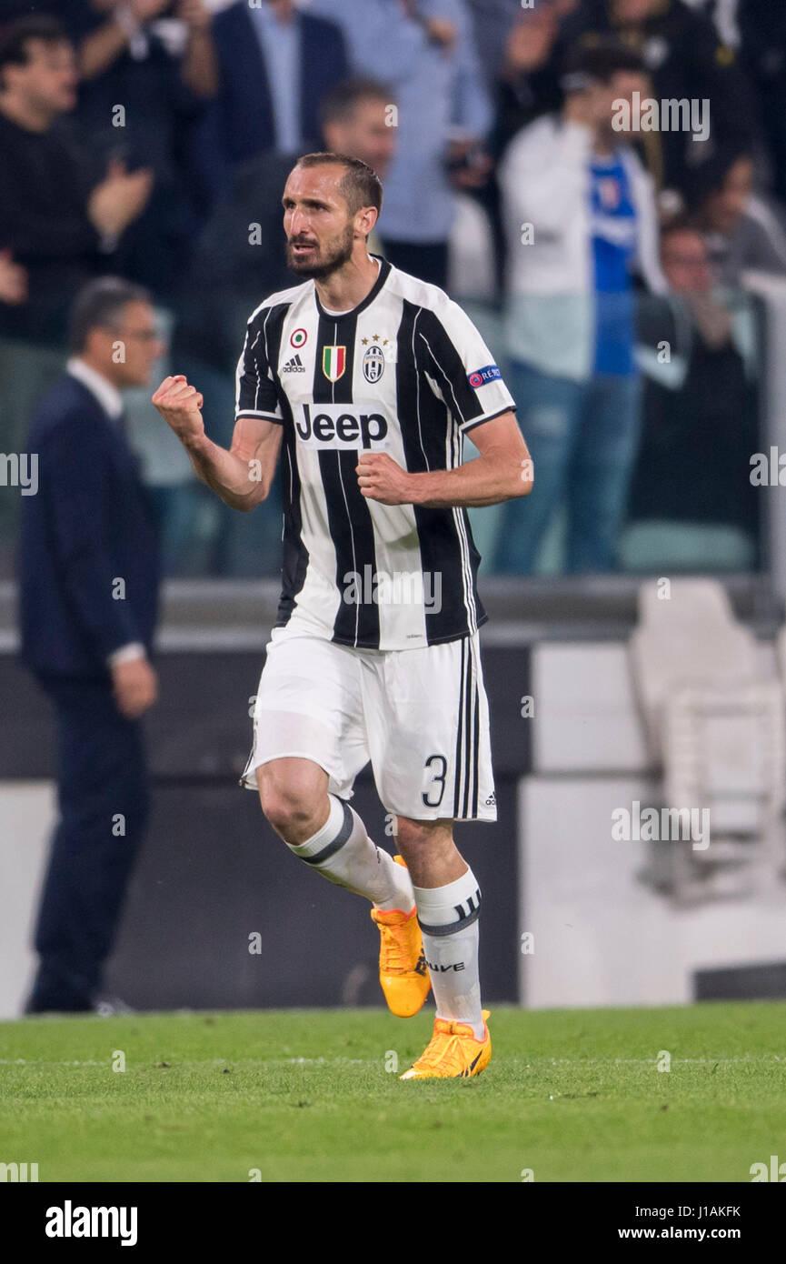 Turin Italy 11th Apr 2017 Giorgio Chiellini Juventus Stock