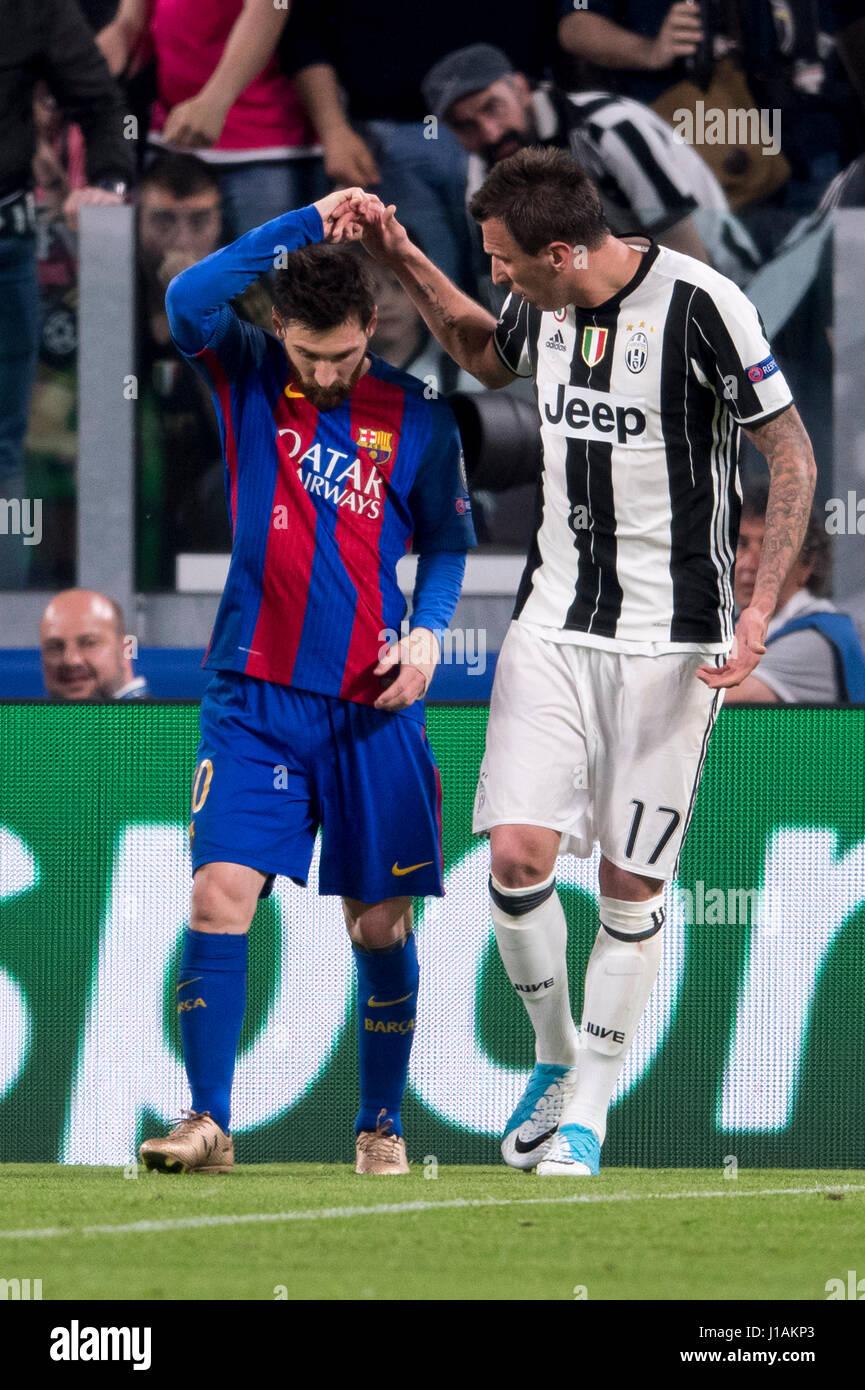 Turin Italy 11th Apr 2017 Lionel Messi Barcelona Mario
