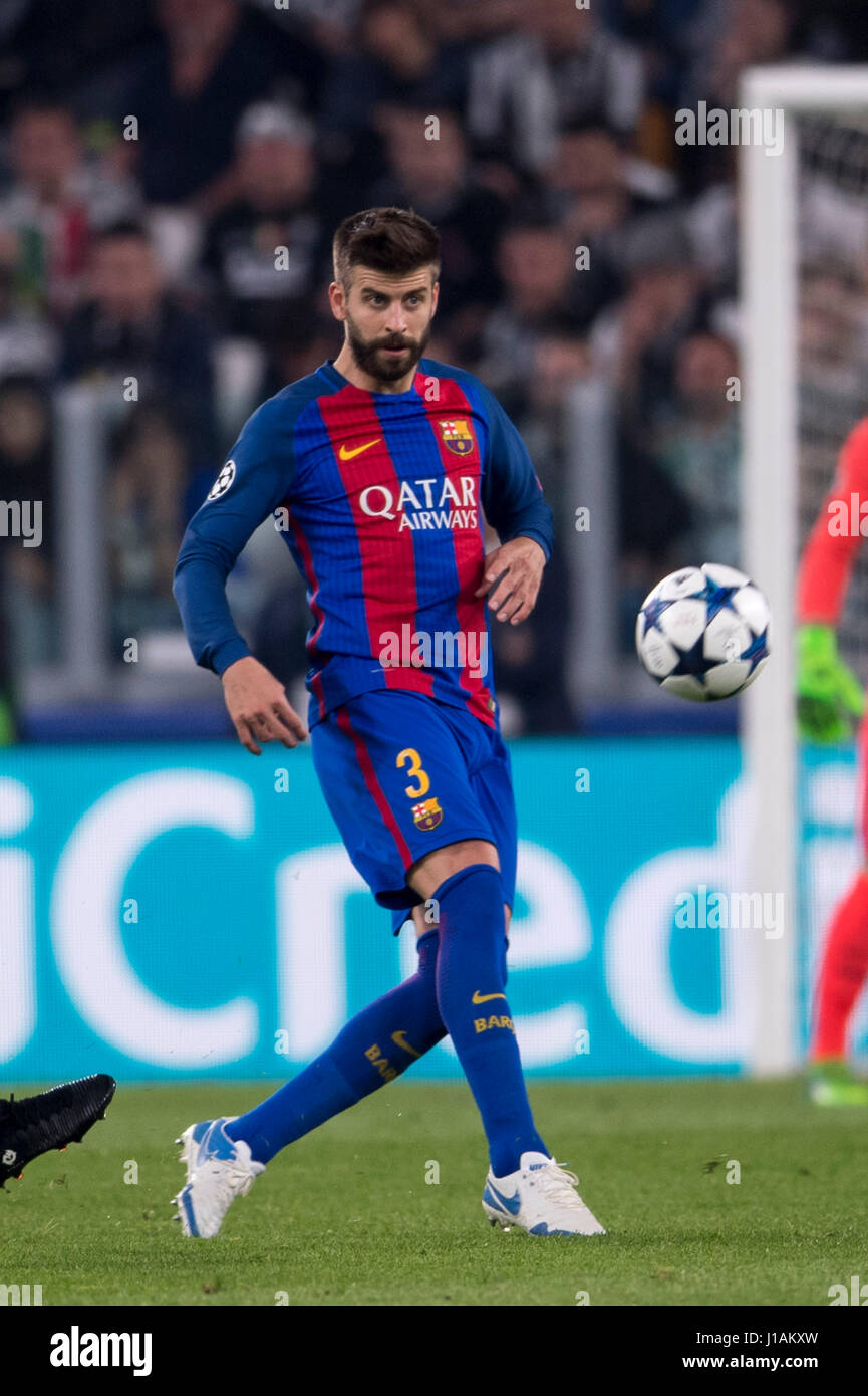 Turin Italy 11th Apr 2017 Gerard Pique Barcelona Stock