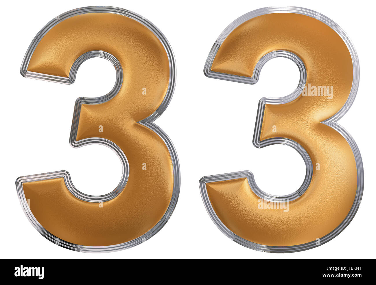 Number 33 free picture of the number thirty three - Numeral 33 Thirty Three Isolated On White Background 3d Render
