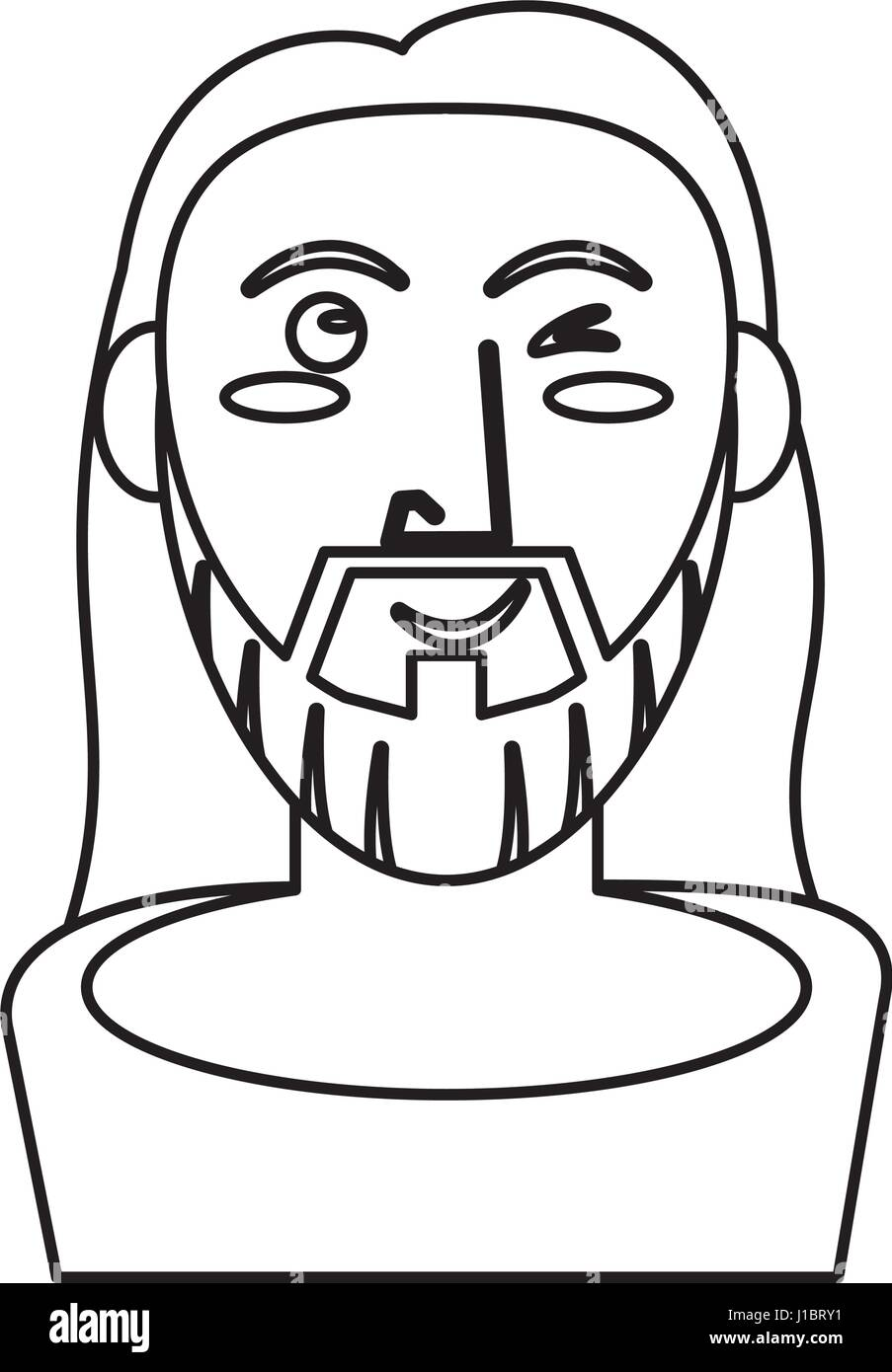 Jesus christ catholic symbol outline stock vector art jesus christ catholic symbol outline buycottarizona Image collections