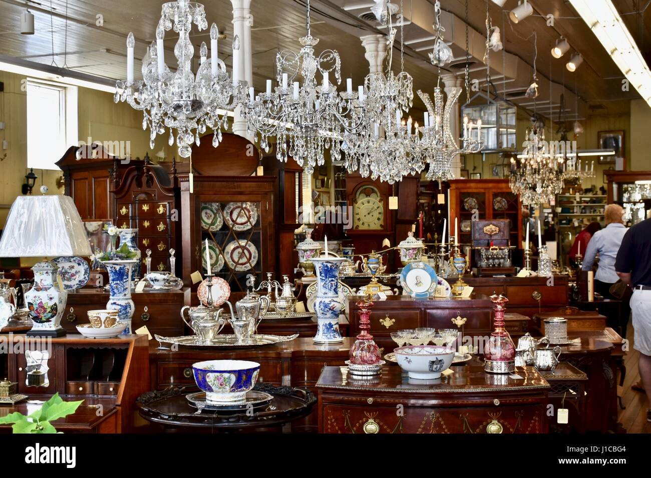 Traditional Furniture And Antique Store In Charleston, South Carolina Stock Photo, Royalty Free