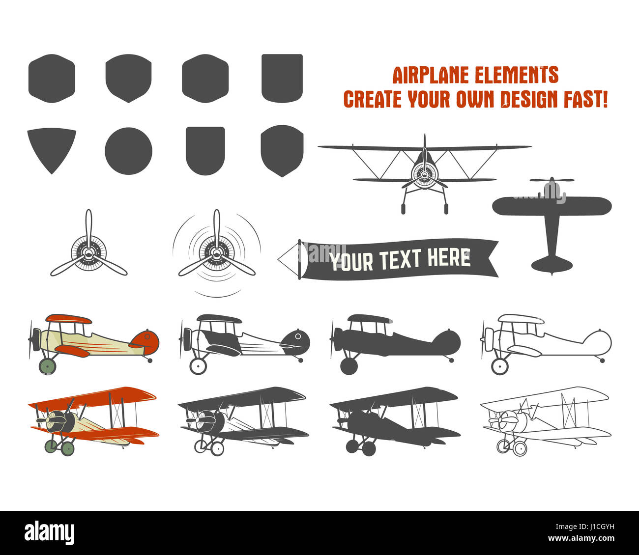 Vintage airplane symbols biplane graphic labels retro plane vintage airplane symbols biplane graphic labels retro plane badges design elements aviation stamps collection fly propeller old icon shield iso biocorpaavc Gallery