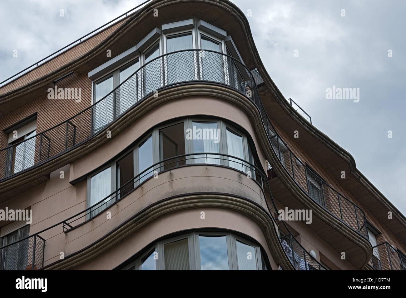 Closeup Corner Bay Window And Balcony Detailes Of Building In Barcelona,  Spain