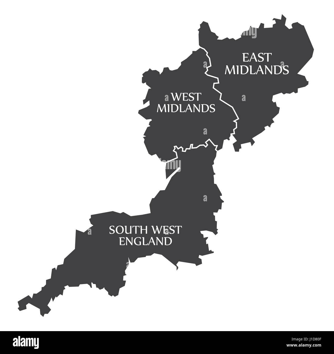 South West England  West Midlands  East Midlands Map UK Stock