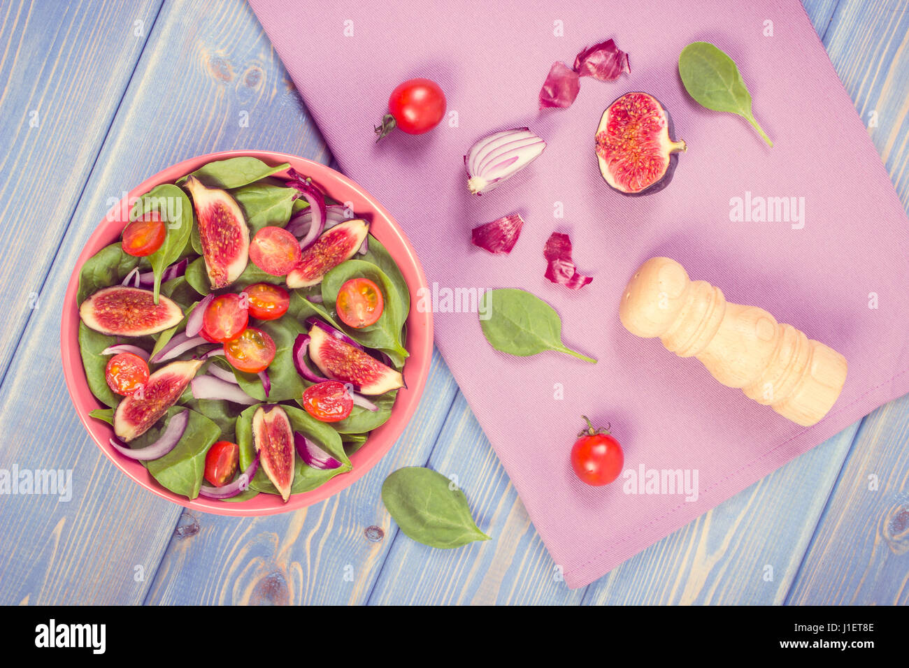 Vintage photo, Fresh prepared fruit and vegetable salad in glass ...
