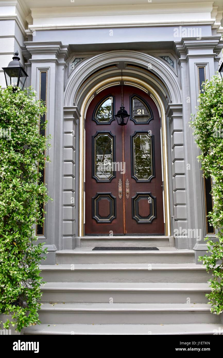 grand front door entrance to beautiful colonial style home