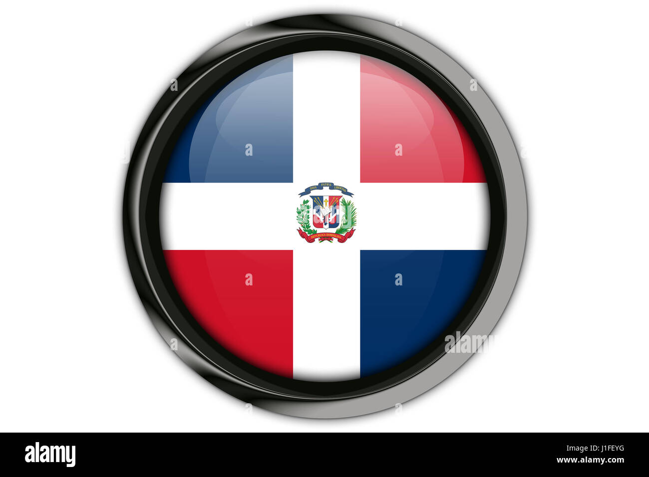 Dominican Republic Flag In The Button Pin Isolated On White Stock