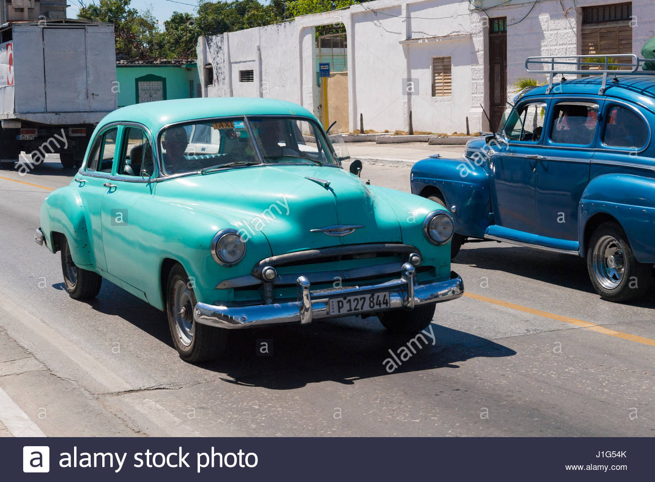 Old American cars still in use in the Caribbean island. Chevrolet ...