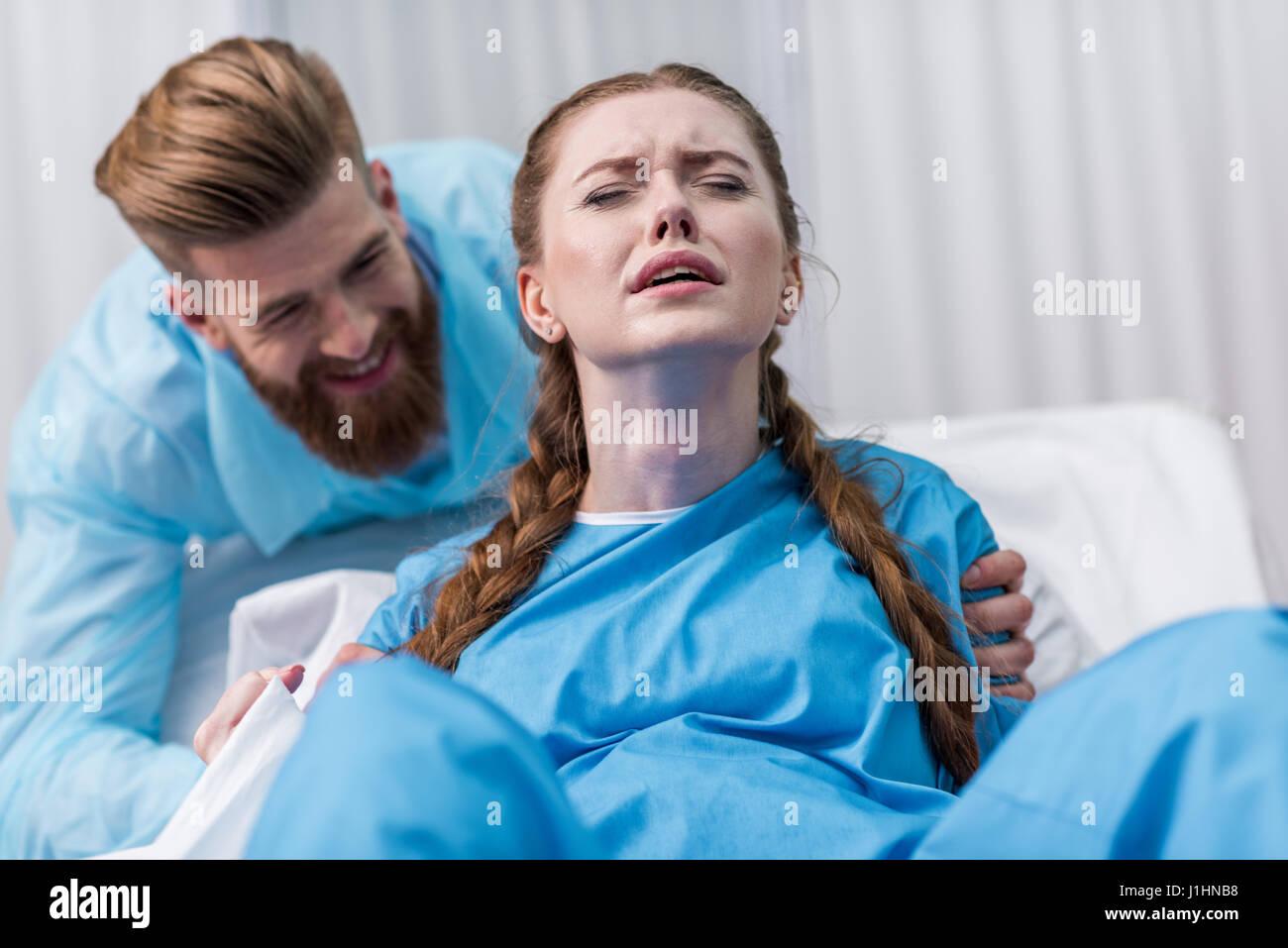 Pregnant woman giving birth