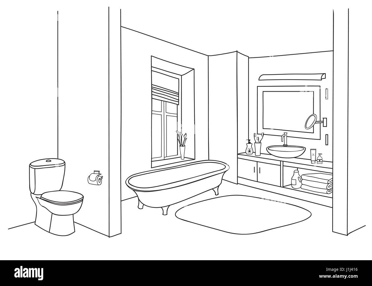 Bathroom Interior Sketch. Room View With Doodle Drawn